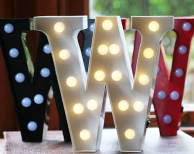 Vintage Carnival Style Marquee Light, Light up Letter W - Battery Operated
