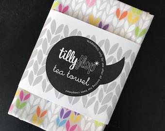 Stocking stitch knit tea towel dish cloth - bright