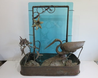 Signed Mid-Century Modern Copper Water Fountain With A Egret, Water Lilies And Green Glass.