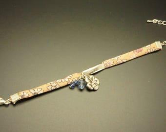 Liberty Orange, ecru and pink bracelet, charm flower and pearls