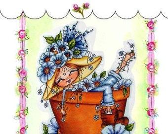 My-Besties Clear Rubber Stamp Big Eye Besties Big Head Dolls Garden Dreaming MYB-0231  By Sherri Baldy