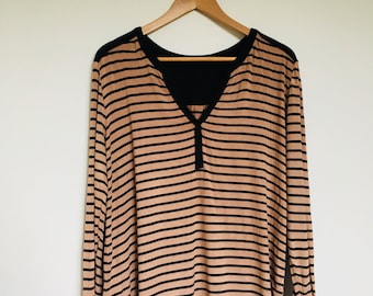 Indie Vintage Style Womens Brown & Black Striped Long Sleeve Top