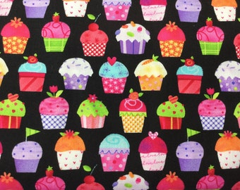 Sweet Things Cupcakes Black Color ~ Holly Holderman for Lakehouse Dry Goods Fabrics Collection, Cotton Quilt Fabric