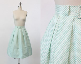 50s Skirt XS / 1950s Vintage Skirt Geometric Cotton / Tunnel des Tuileries Skirt