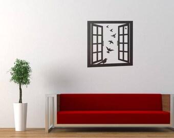 Window Frame with Birds Wall Decal Sticker, Window Emulation Decals, Beautiful Birds, Wood window, Sky Outdoors Dove