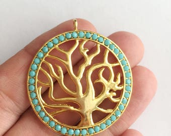 1 pc Matte 22K Gold Plated Base Life TREE Pendant with bead-45x40-(001-042)