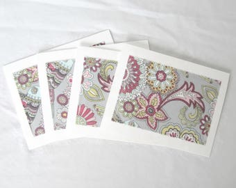 Blank notecards, Notecard set, fabric notecards, floral poppy birds, set of 8