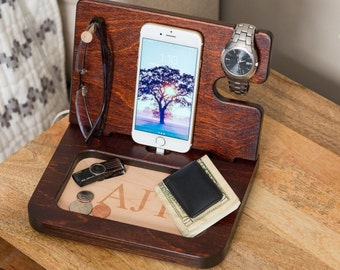 Gifts for boyfriend etsy night stand valet wood valet mens valet personalized valet gifts for men negle Choice Image