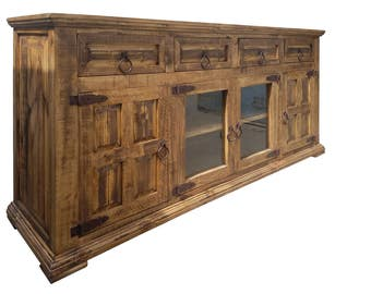 72 inch Hi End Rustic TV Stand 4 Doors 4 Drawers Western Solid Wood Honey Brown Distressed Rough Cut Finish Ships Already Assembled