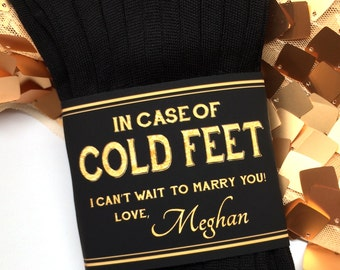 Custom Cold Feet Socks Label for Groom- Groom Gift on Wedding Day- Personalized Paper Wrapper with Embossed Effect- Grooms Socks Black Navy