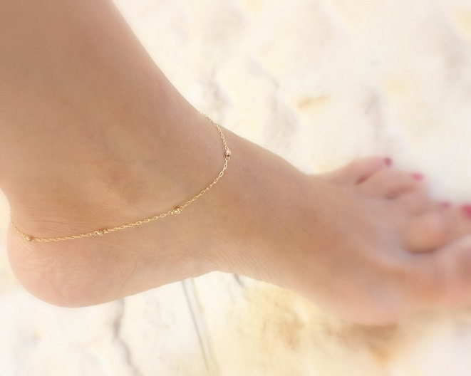for beach rbvajfljdfiawlf real bells with store women gold water anklets elegant product wave chain foot simple boot jewelry bracelets ankle anklet