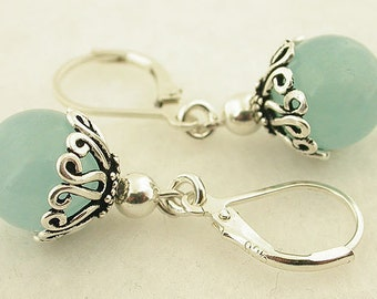 Aquamarine Jade Lever Back Sterling Silver Earrings 11
