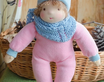 Waldorf baby doll 11 inches Steiner doll Soft body Bunting doll for toddler Textile doll Natural doll Gift for toddler Pink colour velour