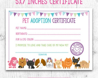 Printable pet adoption certificate animal theme party cat dog pet adoption certificate pet adoption birthday party puppy birthday printable certificate instant yadclub Choice Image