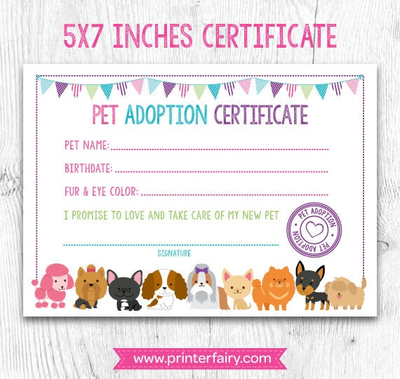 Pet Adoption Certificate Pet Adoption Birthday Party Puppy