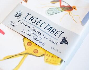 Insectabet Tea Towel - Bugs Butterflies A-Z Teatowel - TT08