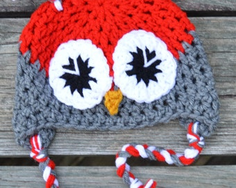Crochet Owl Hat/ Cherry Red/Grey/0-3 months/Baby/Ready to ship!/photo prop/gift