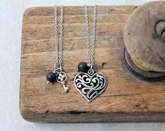 MOMMY & ME key heart diffuser necklace set, charm diffuser necklace for mom and child, gift for mom, aromatherapy jewelry, jewelry set