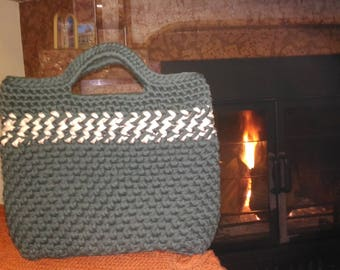 An original beige&dark green striped made from fettuccia/ribbon yarn crochet bag.Multi-use,phone,ipad,book, notebook, university,business ba