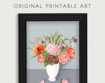 Peonies original print. Digital download printable. Floral still-life art print.