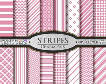 Charm Pink Stripe Digital Paper Pack - Instant Download - Pink Stripe Paper and Pink Diamond Paper for Printable Digital Scrapbooking
