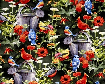 SALE/ Wild Wings Scenic Fabric/ By the Yard / Beautiful  Flowers and Birds with Watering Can/ Cotton