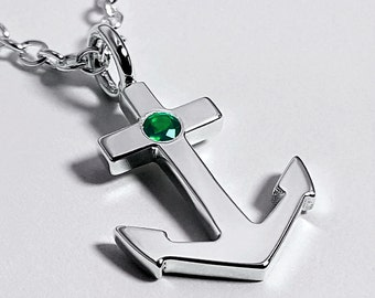 Emerald Anchor Necklace Pendant in Sterling Silver - Sterling Silver Anchor Necklace, Sterling Silver Anchor Pendant, Emerald Anchor Pendant