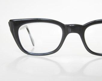 Vintage 1950s Horn Rim Eyeglasses Black Midnight Noir Glasses Mens Guys Homme 50s Fifties Mad Meen Geeky Authentic Retro Obsidian