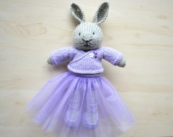 Hand Knit Bunny Ballerina in Tutu Skirt Knitted Cute Bunny Girl Doll Stuffed Animal Bunny Toy Knit Rabbit Doll Mother's Day Gift