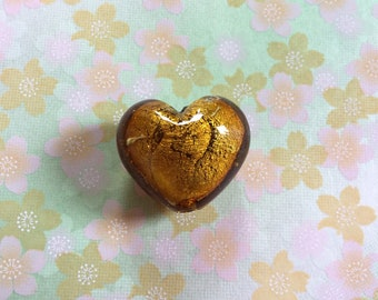 Gold Venetian Glass Bead Gold Puffed Heart Bead Gold Foil Lined Lampwork Bead Big Glass Focal Bead