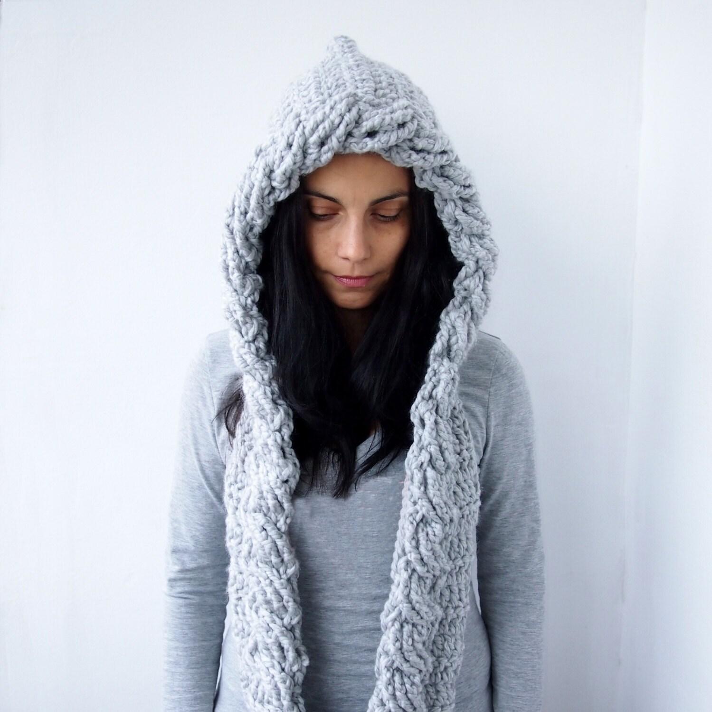 Crochet Pattern cable pixie Hood scarf loop cirlce infinity hooded ...