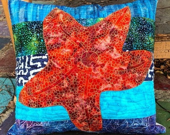 """Batik, Free Motion Quilted Starfish Pillow, 24""""x24"""""""