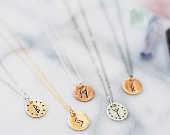 Custom Rune charm necklace. Hand stamped rune necklace. Personalized gift. Elder Futhark Runes. Rune jewelry. Customizable gift. Mystic gift