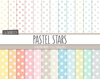 Stars Digital Paper Pack. Pastel Stary Patterns. Printable Papers Set. Geometric Backgrounds. Pastel Colors Scrapbook Star Digital Download
