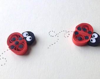 Ladybirds card, Ladybugs, quilled art, greeting card, blank card, insects, animals