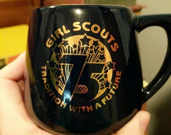 Vintage 1986 Girl Scouts 75 Tradition with a Future Navy Blue and Gold Mug