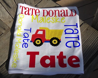 Personalized Baby Blanket with Truck - Dump Truck Receiving Blanket - Custom Baby Blanket - Baby Swaddle Blanket - Baby Blanket Photo Prop