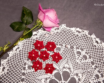 Red Crocheted cotton flowers, Embellished  with beads, Set of 7, Crocheted Flower Appliqués