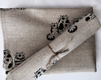 """2 tea towels / diner towels / kitchen towels linen """"Black cat"""" (20"""" x 27,6""""), Mother's Day / Father's Day / Easter / Gift"""