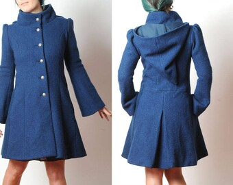 Blue winter Coat, Womens blue wool coat with Goblin Hood and tall collar, Blue hooded coats, Winter fashion, MALAM, size Uk 8 or custom