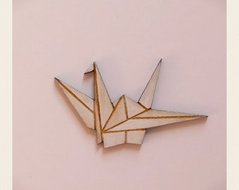 Origami White Swan Brooch