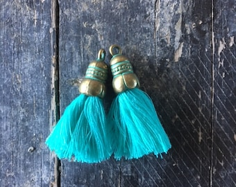 Turquoise tassel, cotton thread, antiqued bronze oxidized green cap, 35x10mm, sold by 2