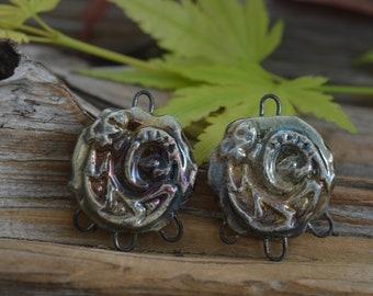 Coiled Lizards- Rustic Handmade Porcelain Raku Connectors