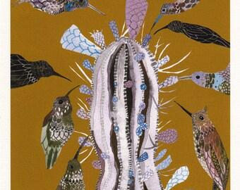 Desert and Hummingbirds - Archival Print
