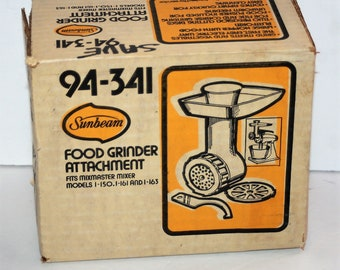 Vintage Sunbeam Power Plus Mixer Slice-Shredder Attachment #94-341 New in Box Made in USA