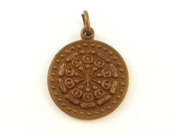 Copper Dharma Wheel Pendant Buddha Wheel Charm - Ethnic Tribal Asian Rustic Metal Amulet |BD1-1|1