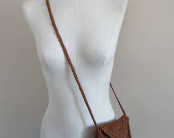 Vintage 1990s Brown Crocheted Shoulder Bag by Sofi Handknits; BoHo Shoulder Bag