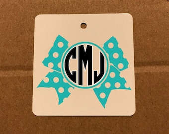 Monogram Bow - Key Chain  - custom: any colors