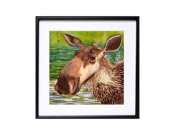 Moose illustration Moose Art Watercolor Print Animal art wildlife painting nature print Child playroom decor Whimsical wall art Nursery