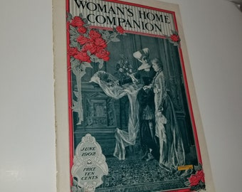 Antique ladies magazine cover Woman's Home Companion from 1902 illustration paper art supplies ephemera Lg page scrap projects